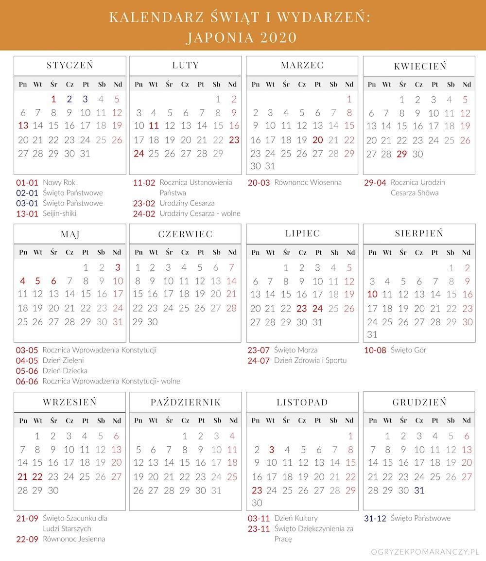 święta w Japonii 2020 kalendarz